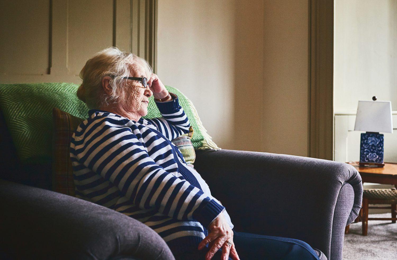Elderly woman in distress