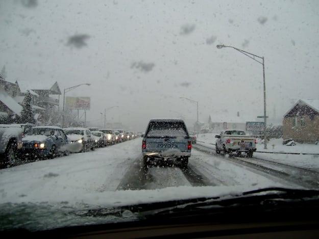 Cars in snow POV