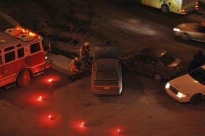 Two car accident – Night – fire and police