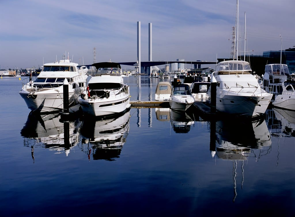 Boats Parked At A Marina Stock Photo
