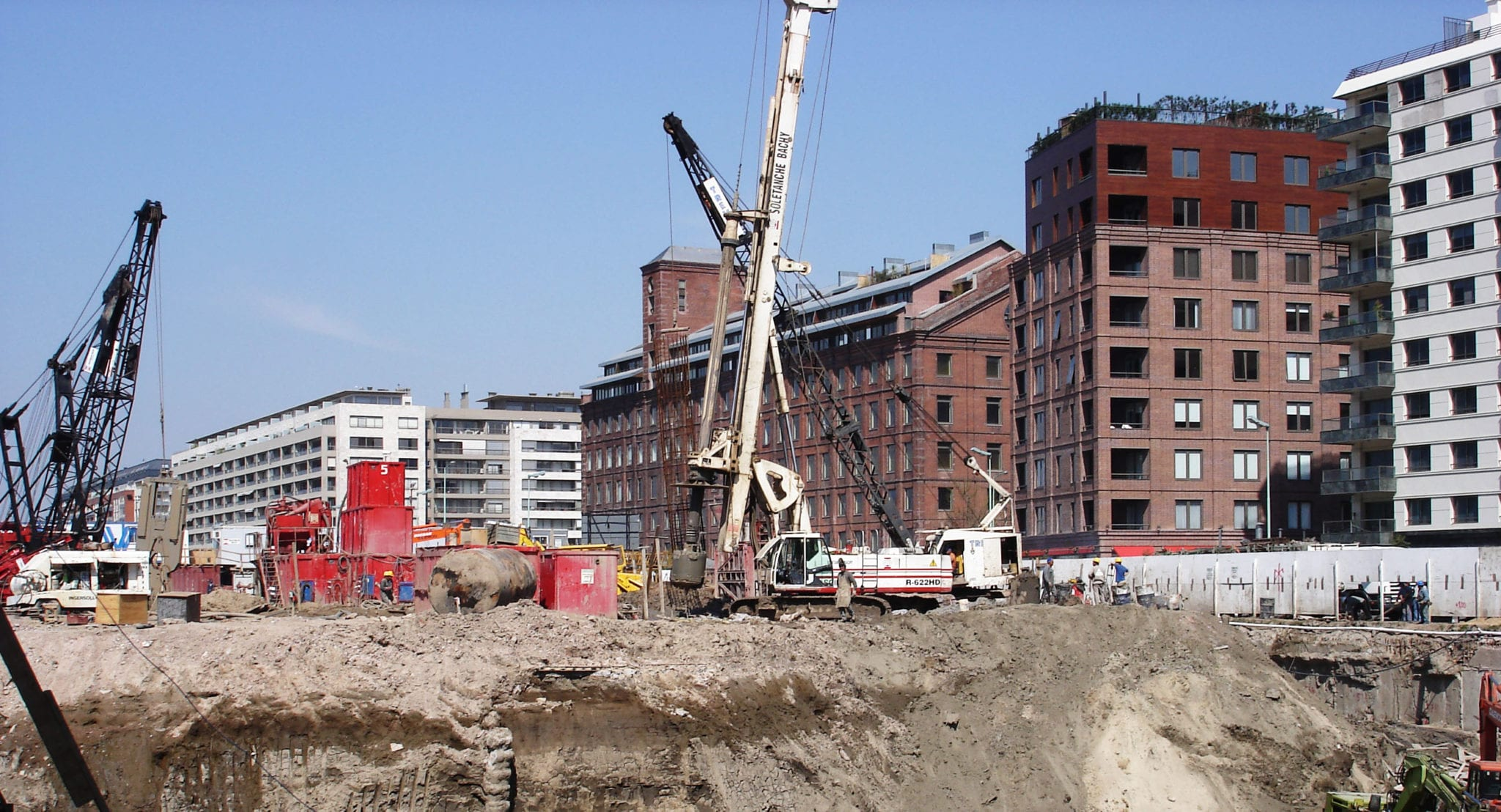 Large Cranes At A Construction Site Stock Photo