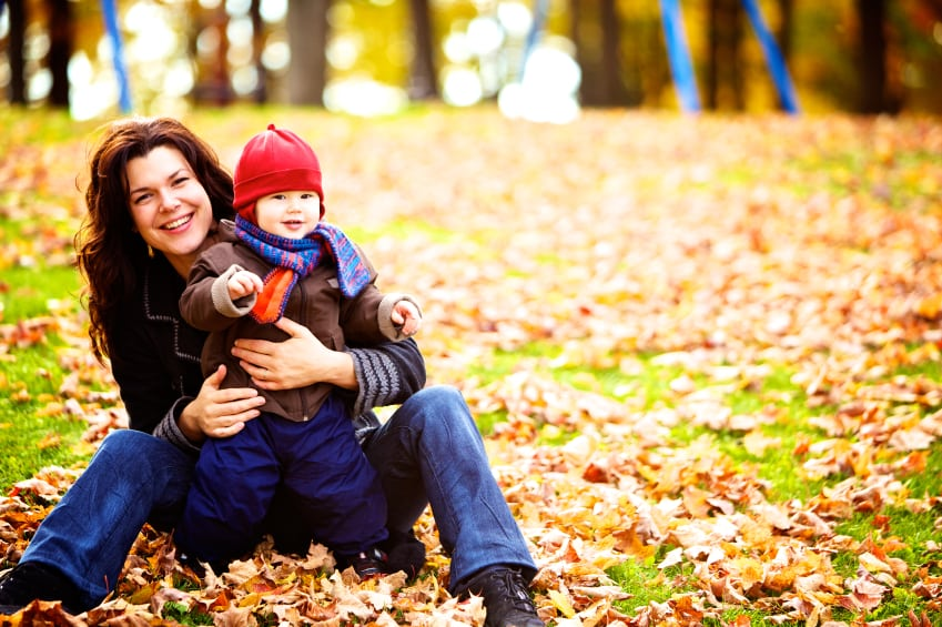 Mother-and-Son-Fall-Leaves
