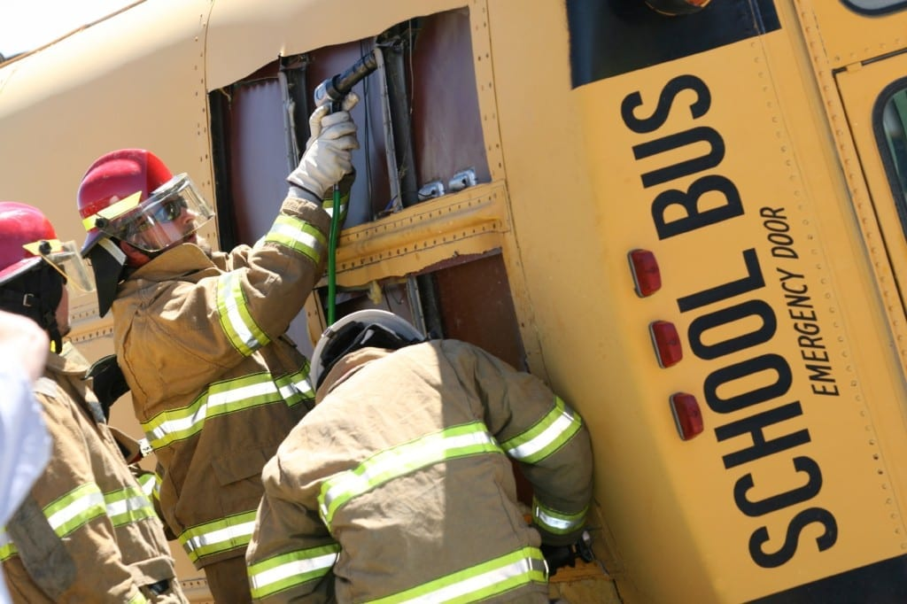 School Bus Accident Stock Photo