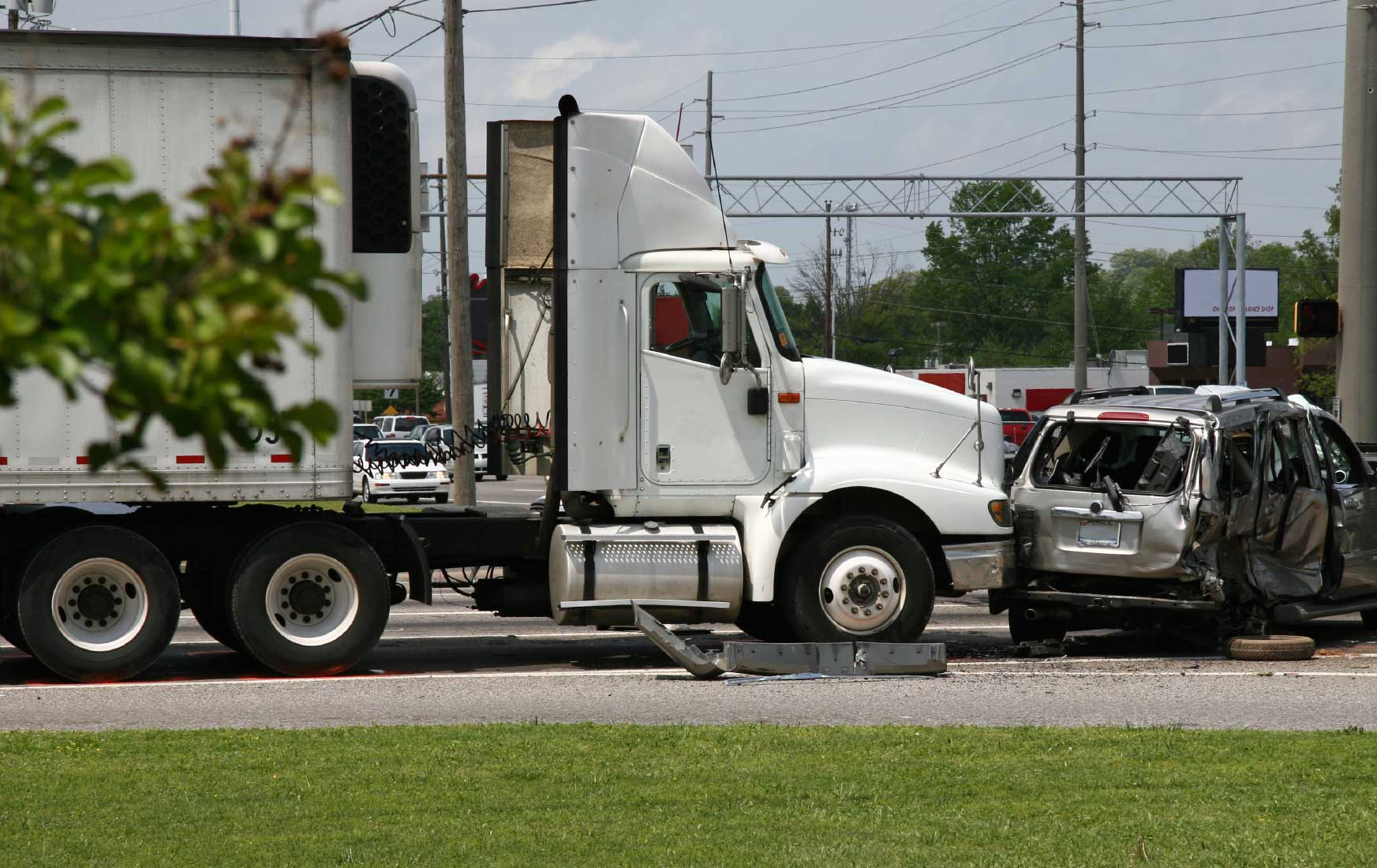 Aftermath Of A Truck Accident With A Smaller Vehicle Stock Photo