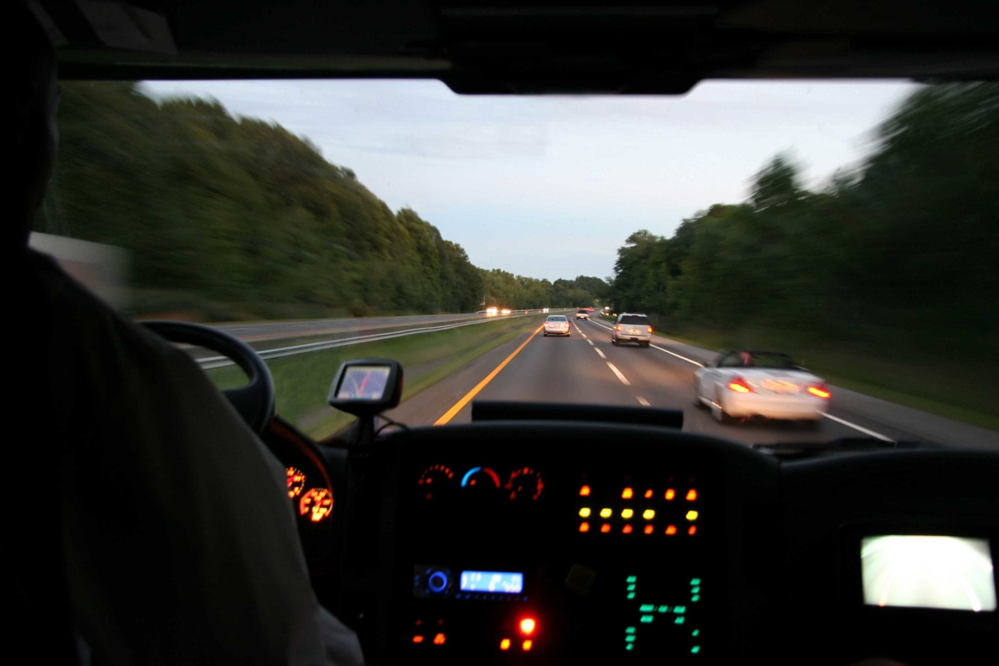 Cab of 18-wheeler truck stock photo