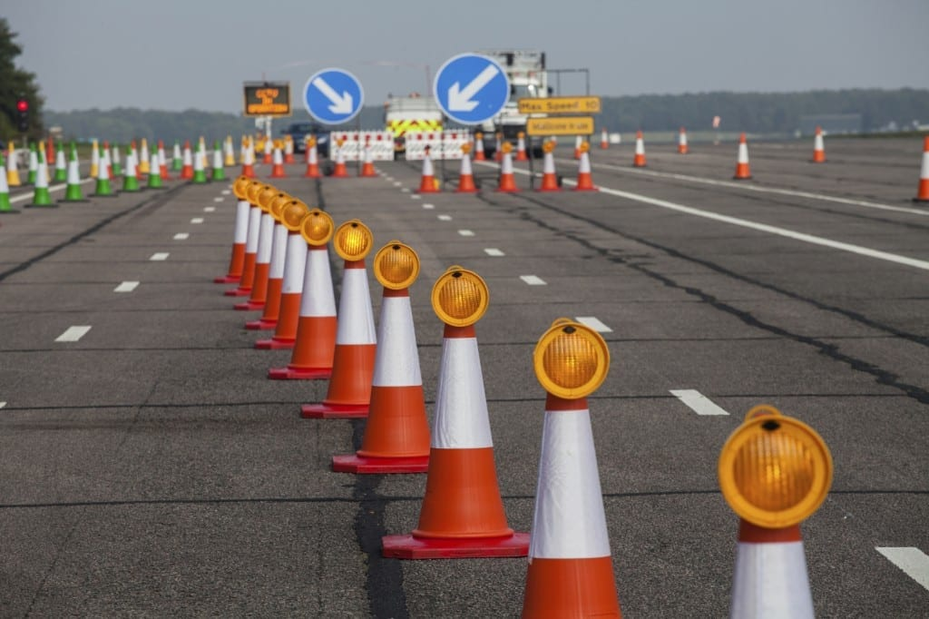 Road Cones In Road Construction Area Stock Photo