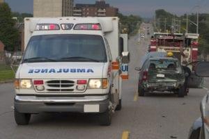Ambulance At Scene Of Auto Accident Stock Photo