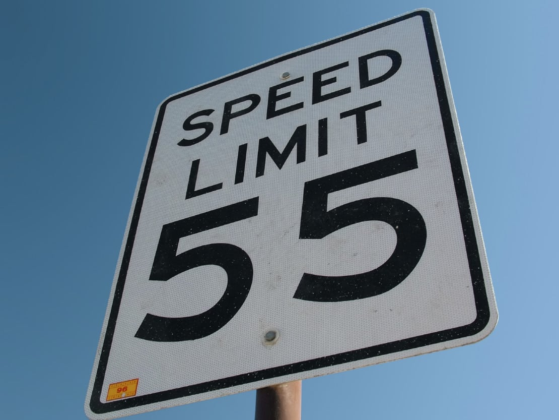 Speed Limit 55 Sign Stock Photo