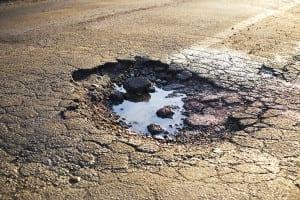 Large Pothole Stock Photo