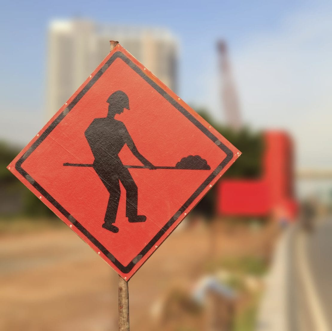 Warning Work Zone Sign Stock Photo