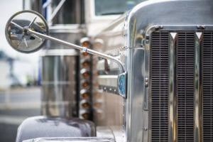 Parked Silver 18-wheeler Truck Stock Photo
