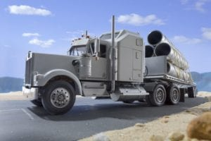 Parked 18-wheeler Truck Stock Photo