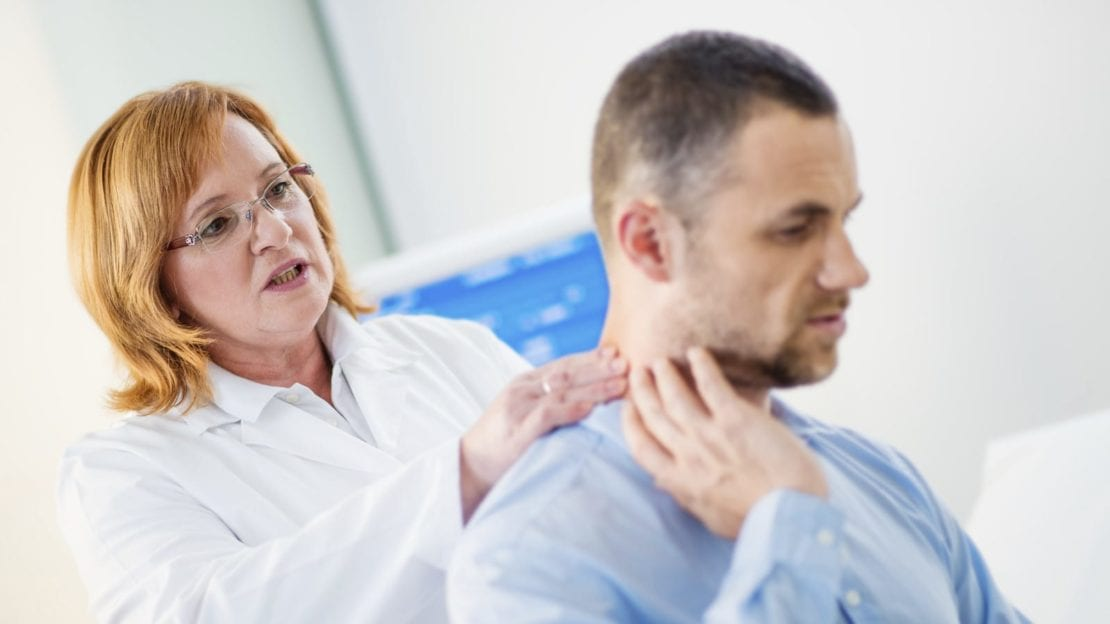 Man Experiencing Neck Pain After A Car Accident Stock Photo