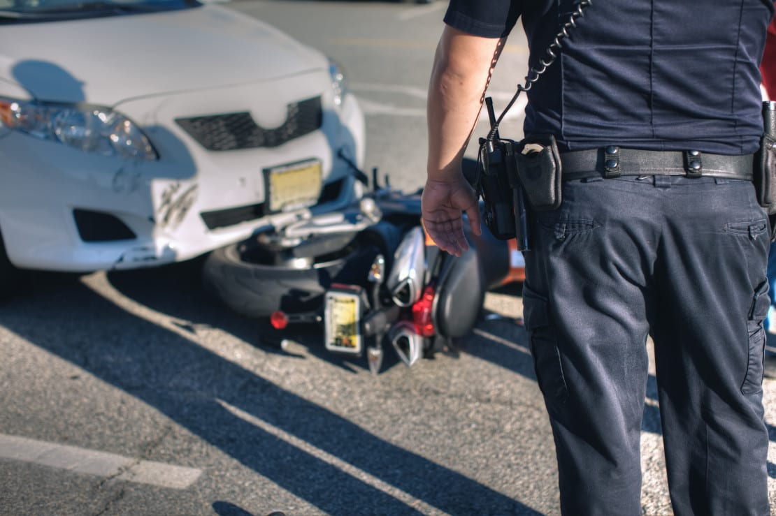 Motorcycle Collision With Vehicle Stock Photo