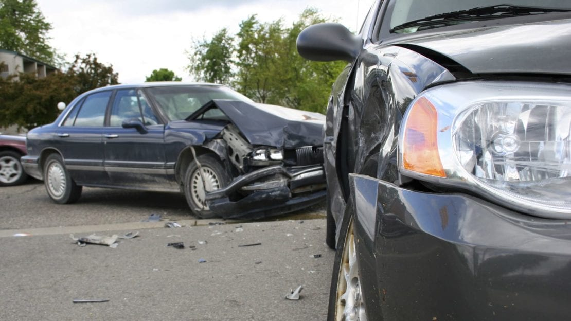Side Impact Auto Accident Stock Photo