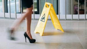 Caution Slippery Floor Sign Stock Photo