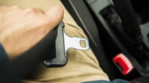 Passenger Fastening Seat Belt Stock Photo