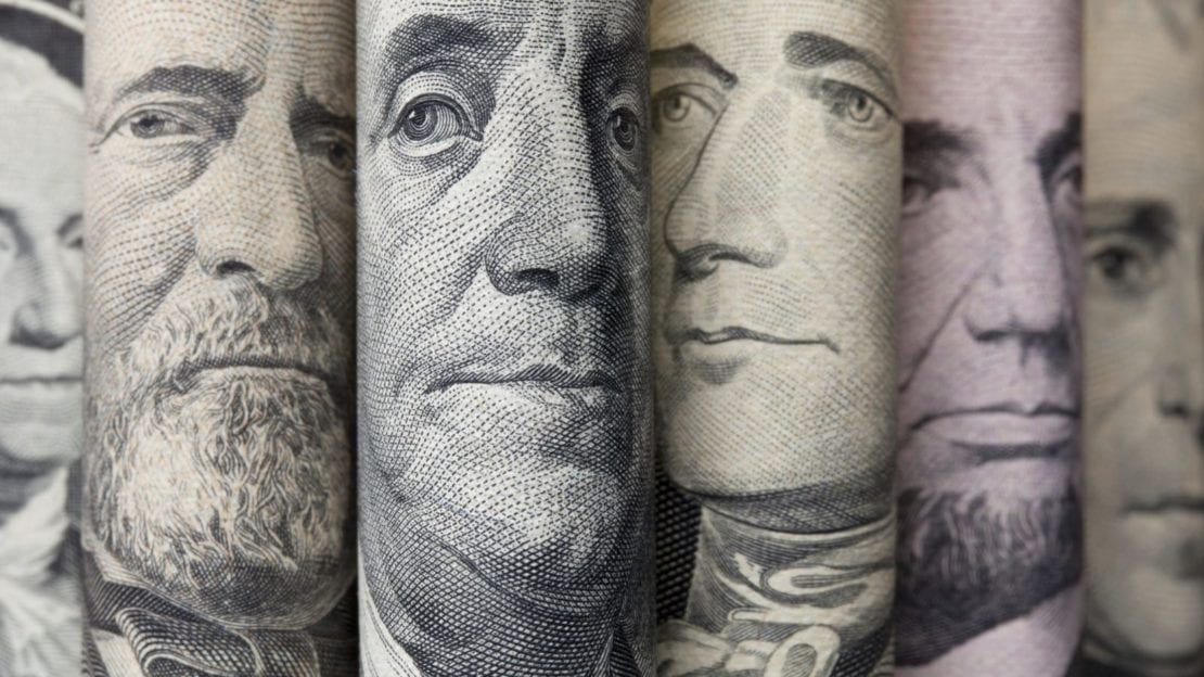 Rolled Up American Currency Stock Photo