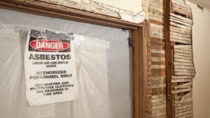 Danger Asbestos Sign Stock Photo