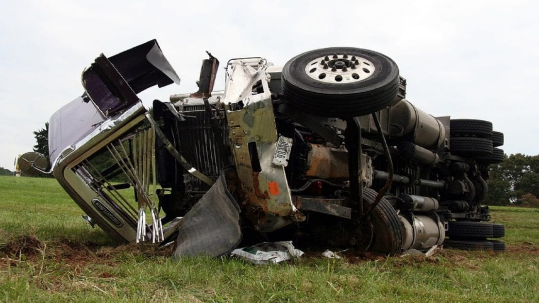Truck Accident In A Rural Area Stock Photo