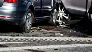 Car Accident At An Intersection Stock Photo