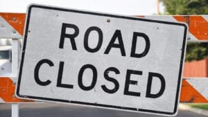 Road Closed Road Sign Stock Photo
