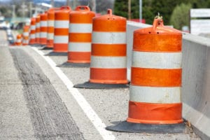 Traffic Barrels With Shallow Depth of Field