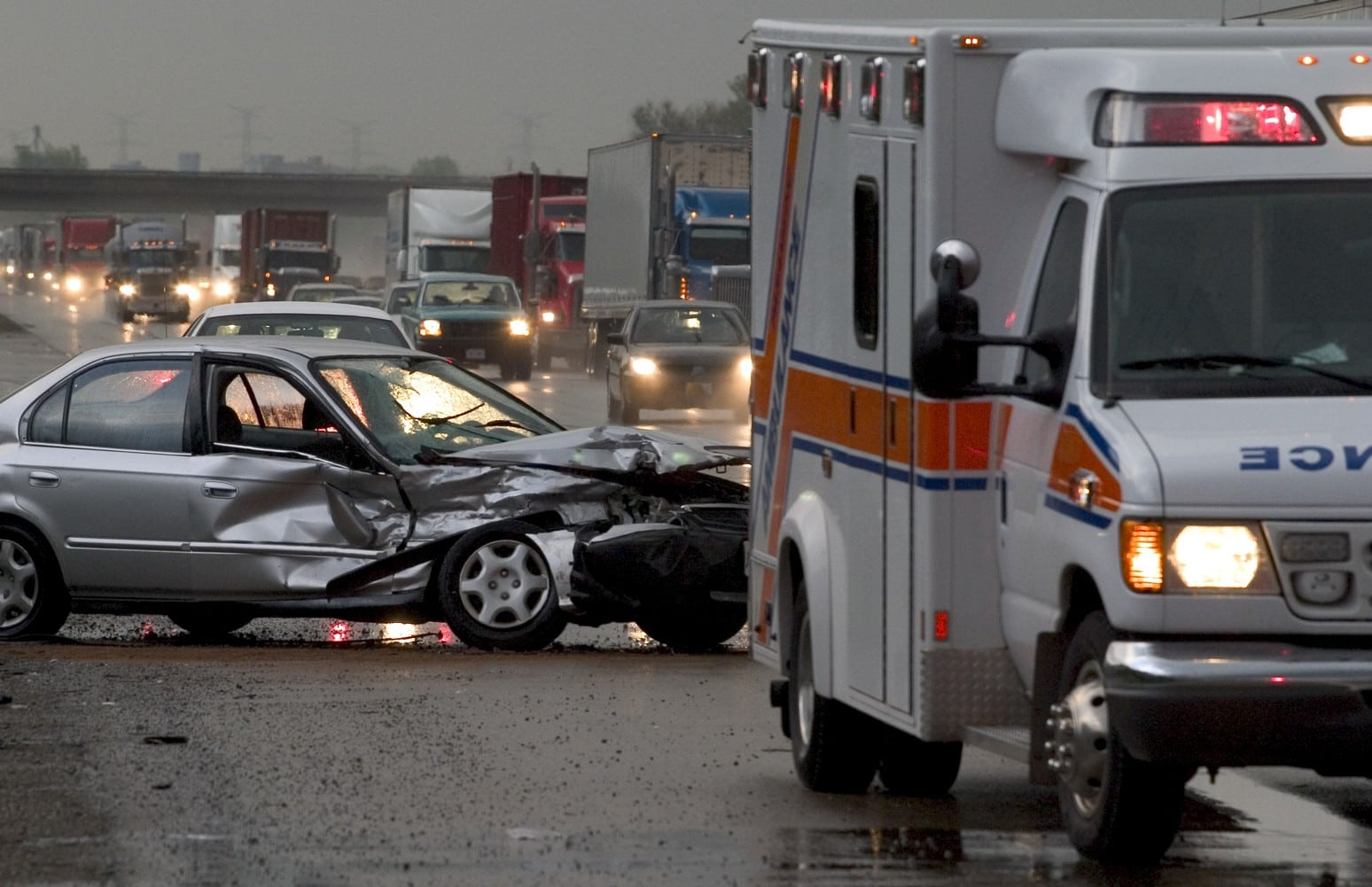 Car Accident On A Busy Highway Stock Photo