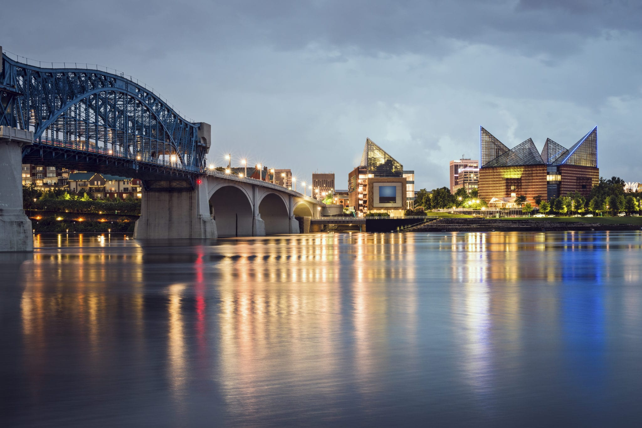 Downtown Chattanooga, Tennessee Skyline At Night