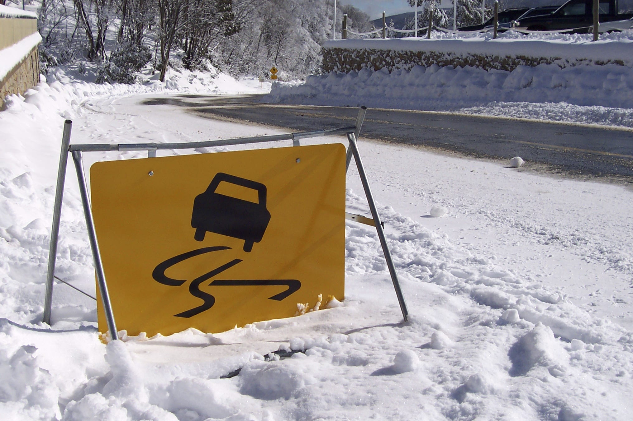 Slick Roads Warning Sign Stock Photo