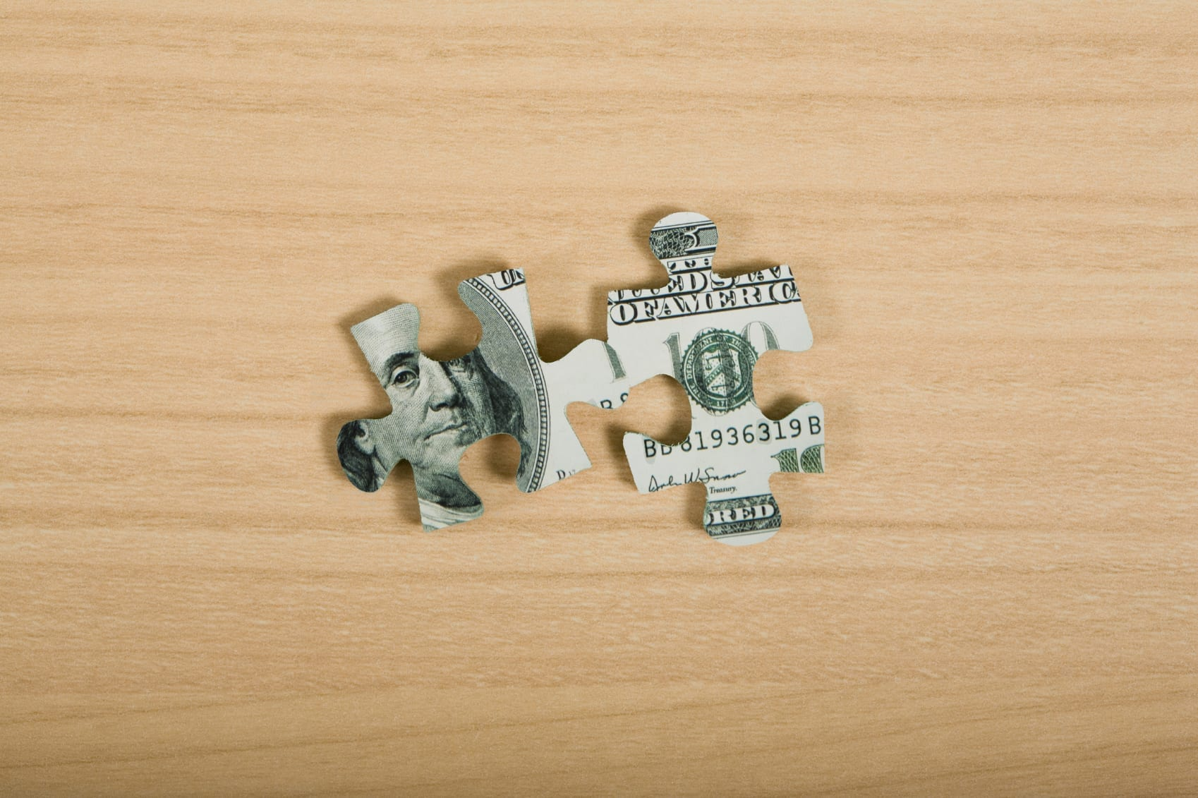 American Dollar Bill Puzzle Pieces Stock Photo