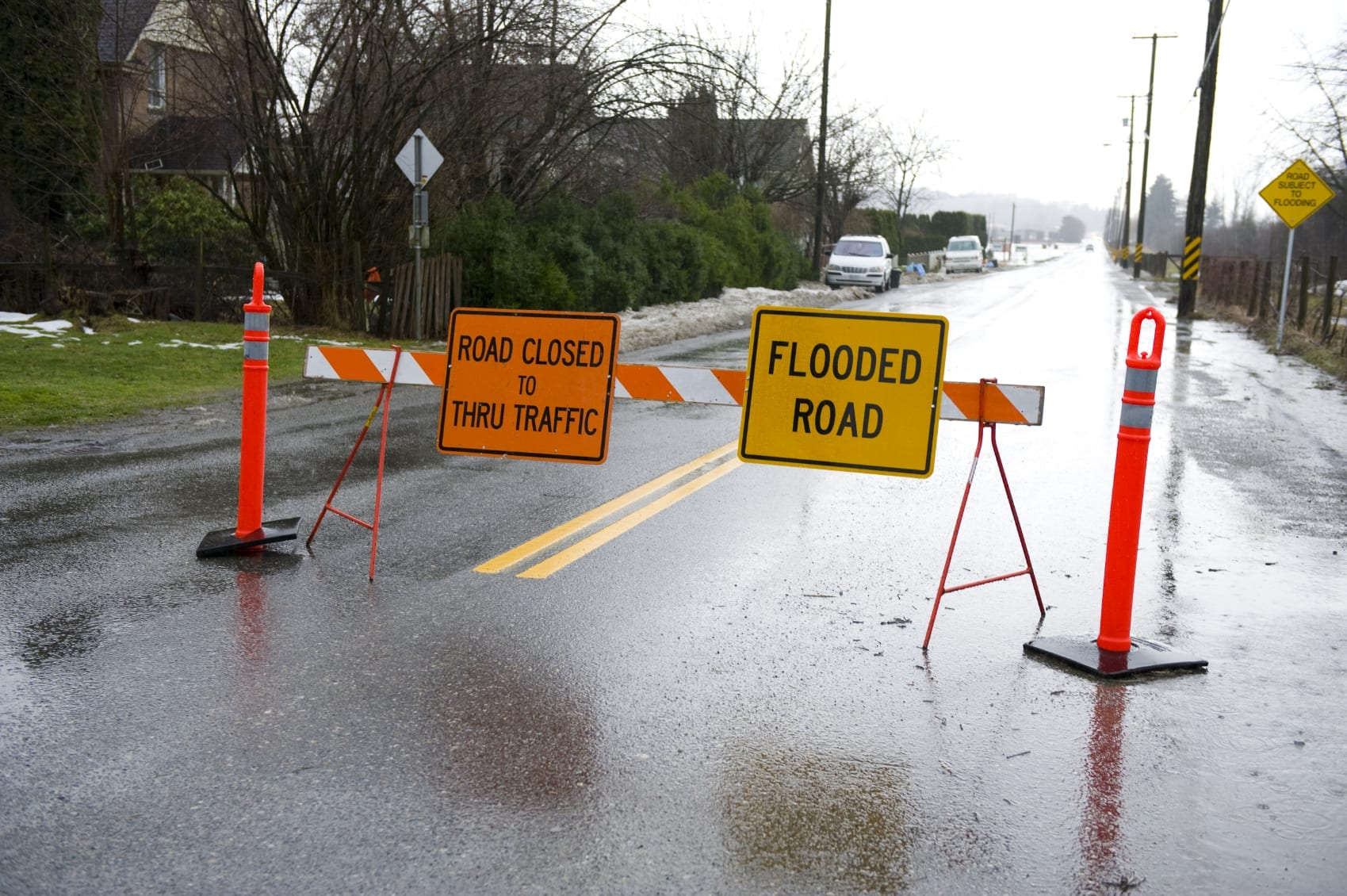 Flooded Road Warning Sign Stock Photo