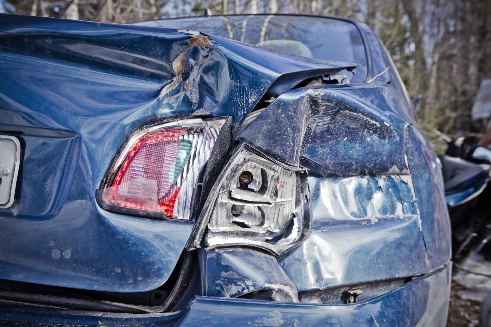 Blue Car In Rear End Auto Accident Stock Photo