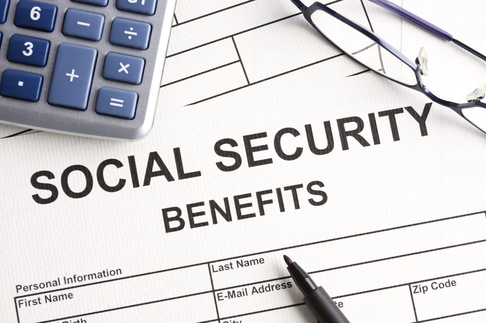 Blank Social Security Benefits Form Stock Photo