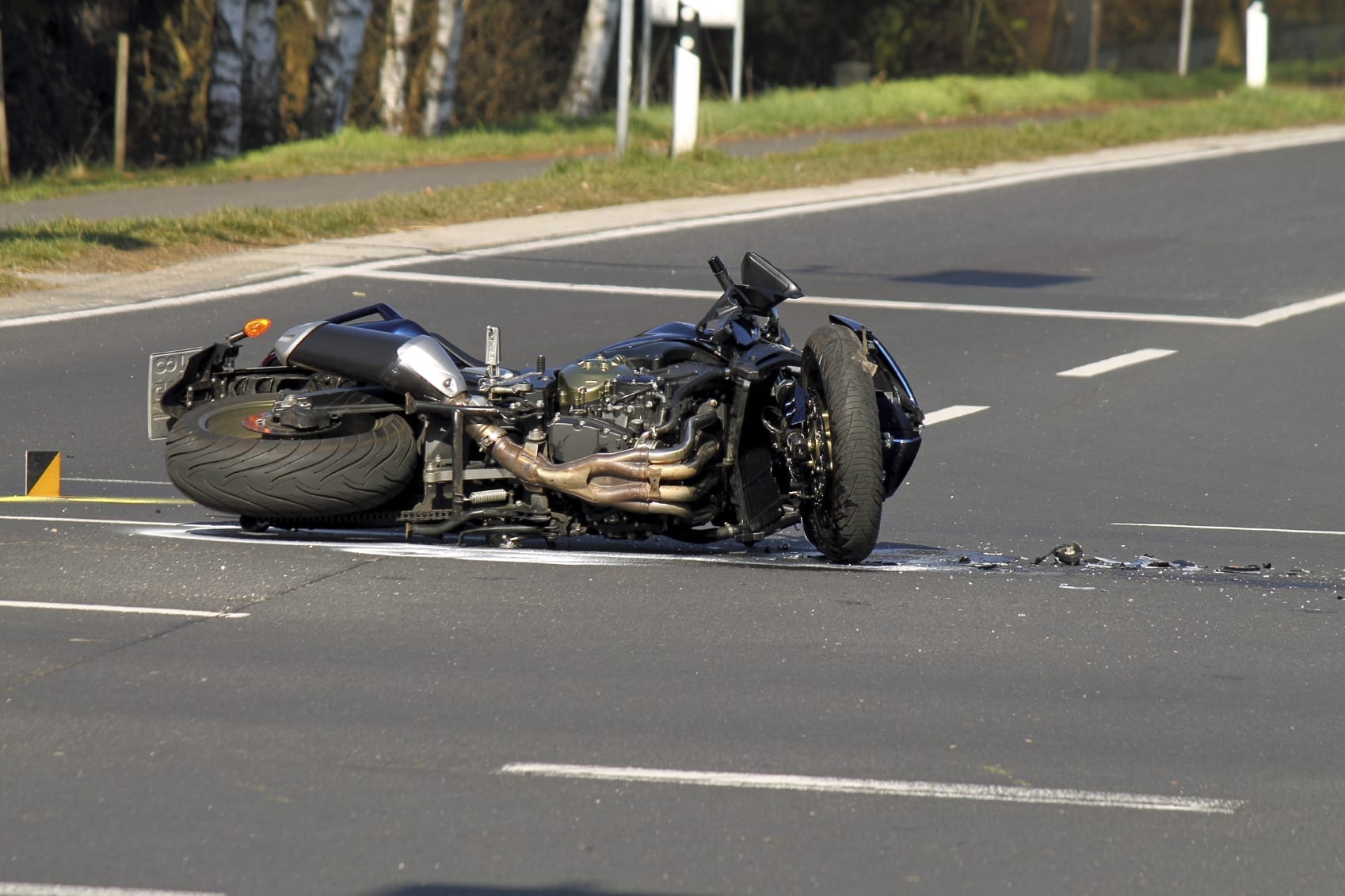 Aftermath of Motorcycle Accident Stock Photo