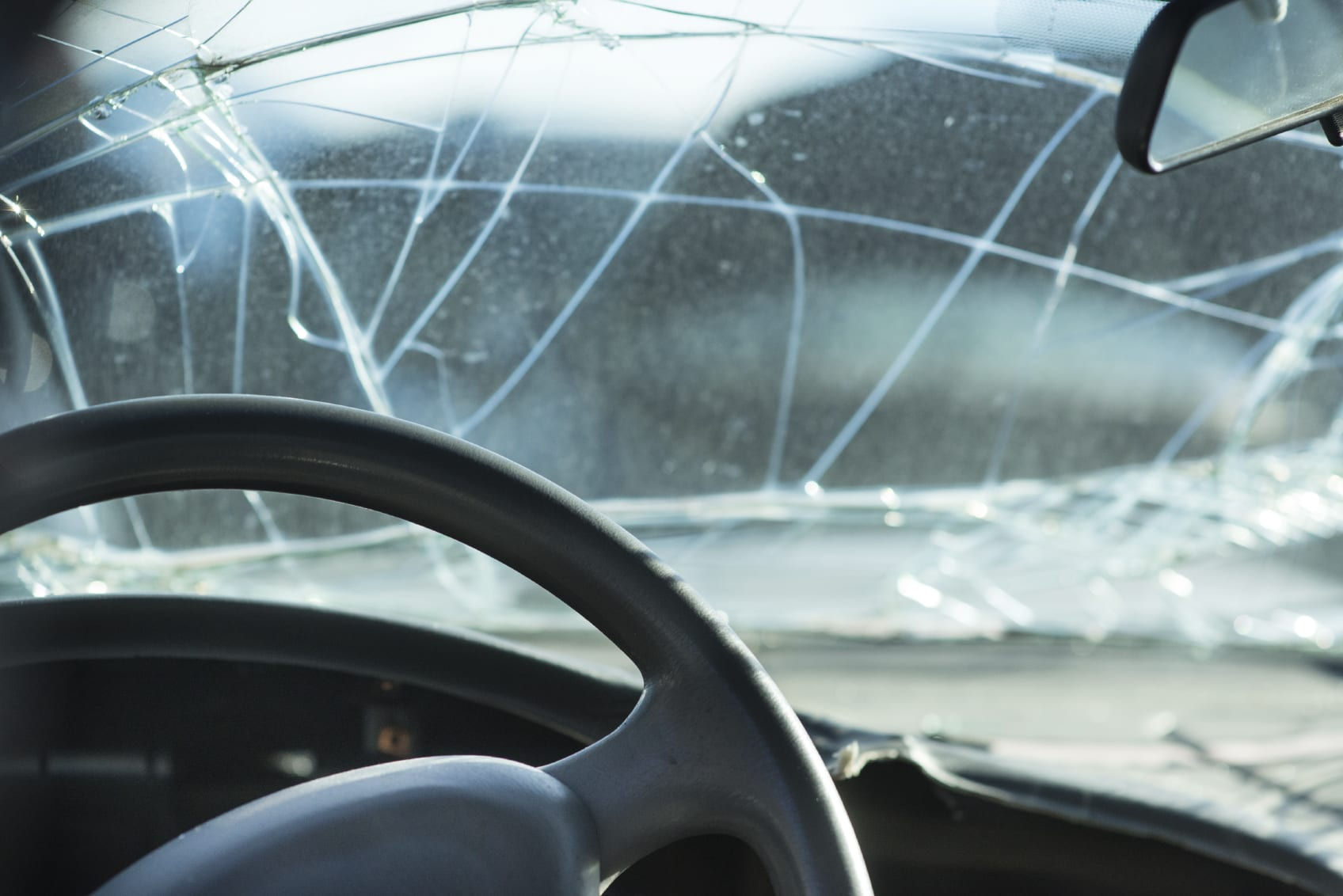 Broken Car Windshield Stock Photo
