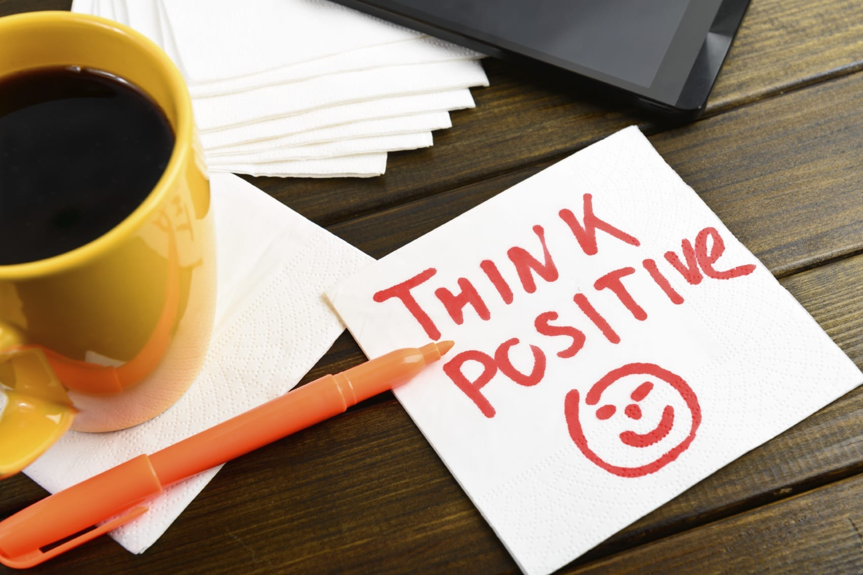 Think Positive Note Stock Photo