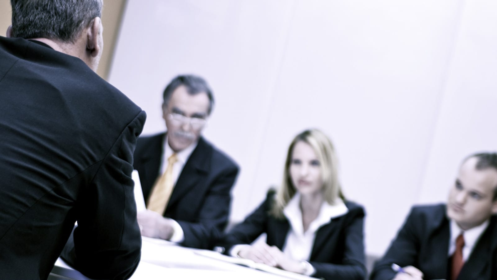 Several Lawyers Meeting Together Privately Stock Photo