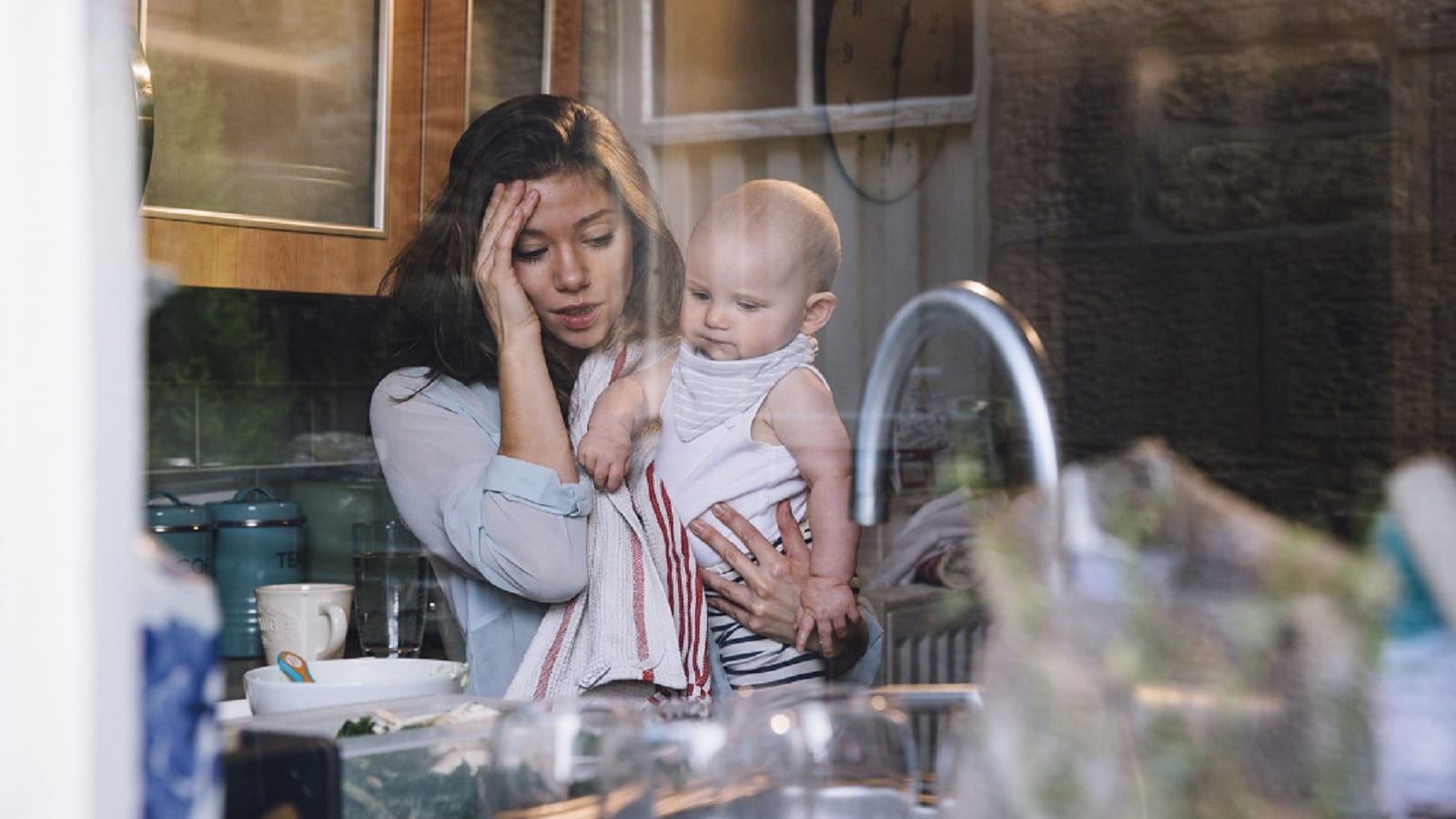 Stressed Young Mother Stock Photo