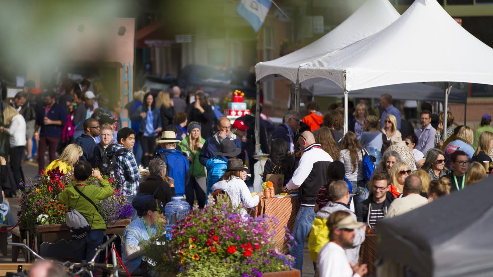 Large Crowd Of People At A Street Festival Stock Photo