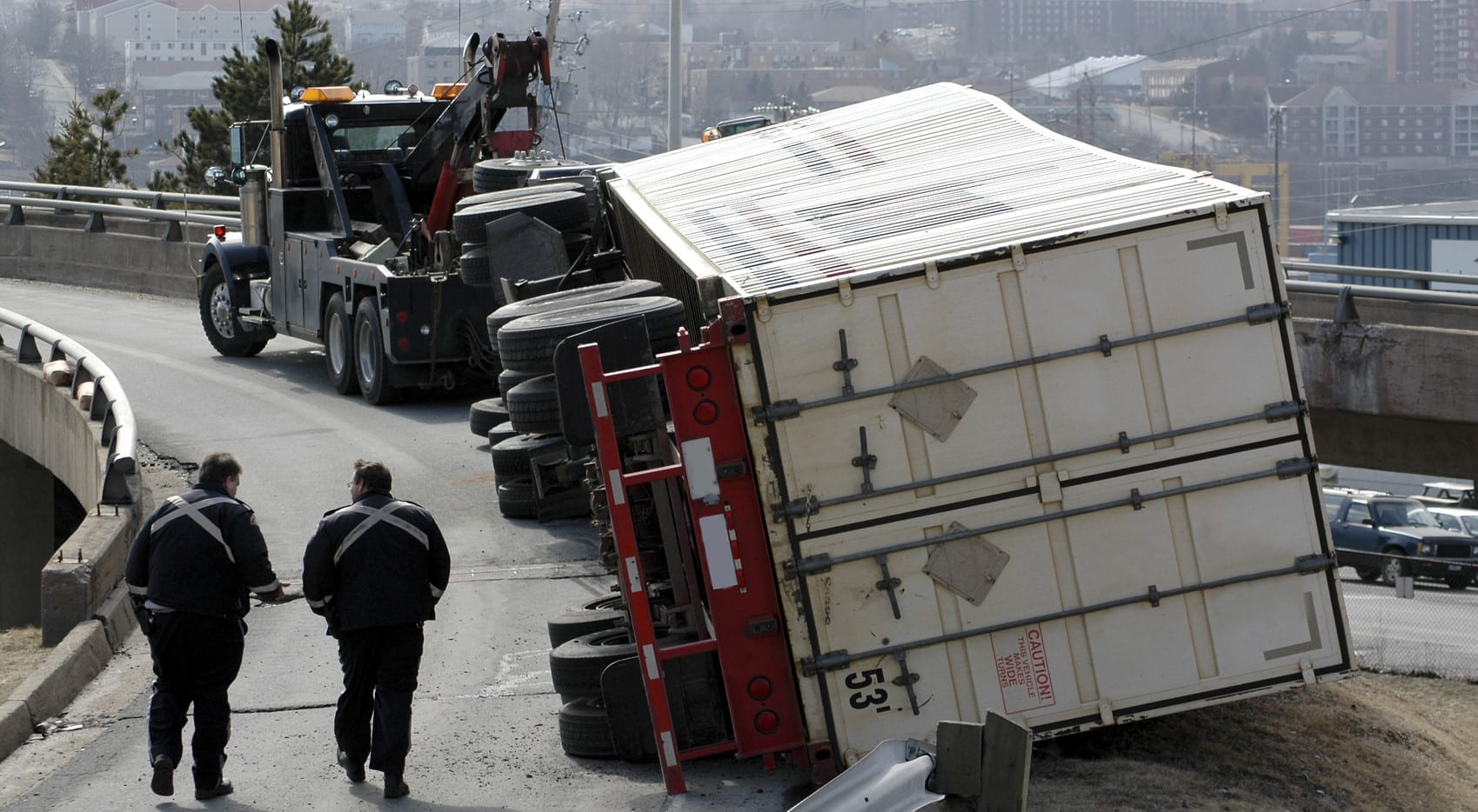 Overturned Semi-truck Stock Photo