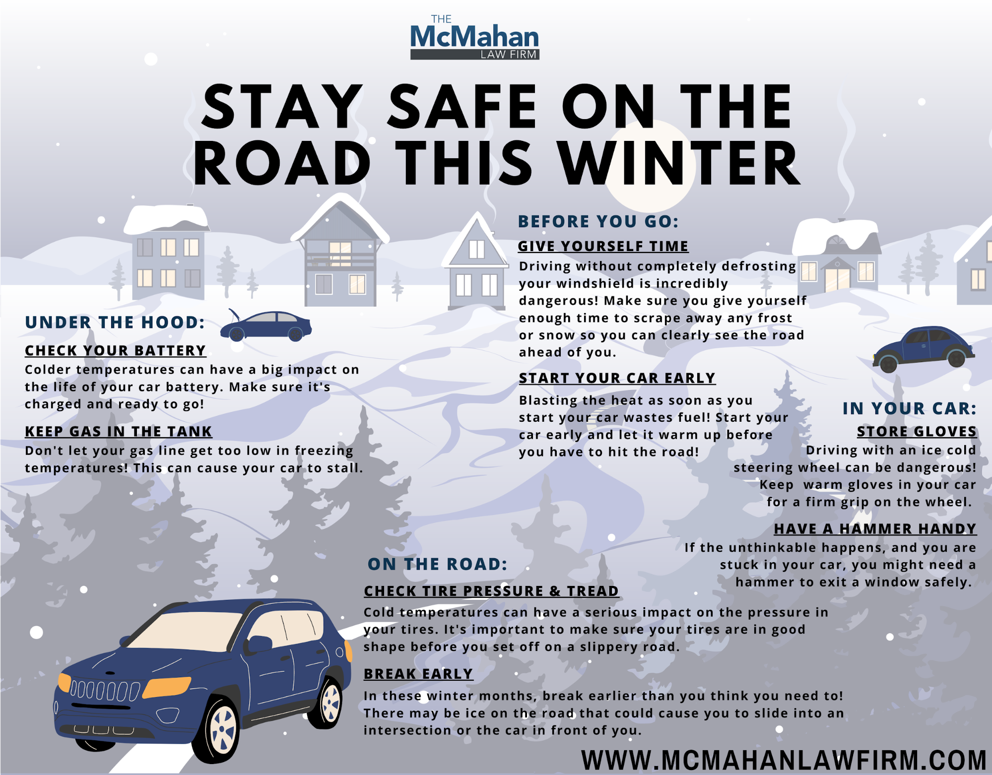 Chattanooga, TN, winter driving tips infographic