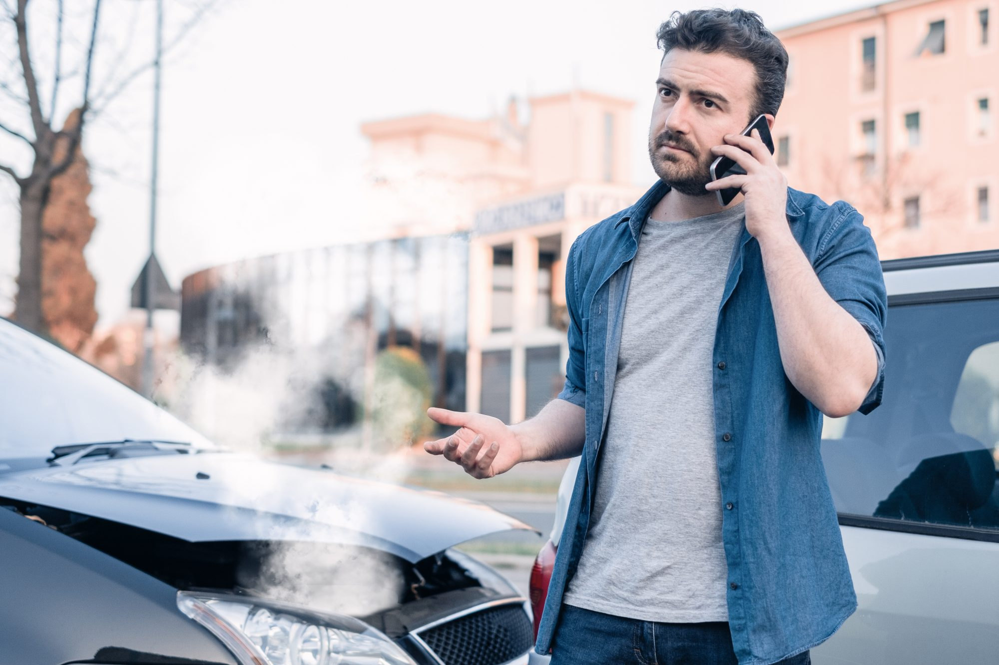 a man calling an attorney after a Chattanooga car accident